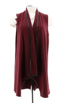 Women with Control Open Front Vest Faux Leather Trim Burgundy XXS NEW A269620 - $29.68