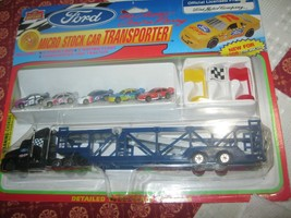 FORD MICRO STOCK CAR TRANSPORTER IMPERIAL DIECAST W/5 STOCK CARS 1997  - $9.89