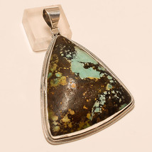 Natural Arizona Turquoise Gemstone 925 Sterling Silver Pendant Vintage Jewelry - $54.10