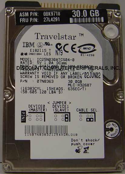 "NEW IC25N030ATCS04-0 IBM 30GB 2.5"" 9.5MM IDE 44PIN Hard Drive Free USA Ship"
