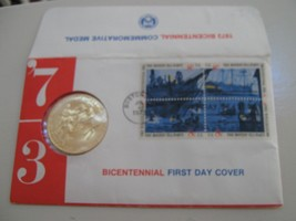 1973 Bicentennial First Day CoverCommemorative Stamp and Medal with Samuel Adams - $10.00