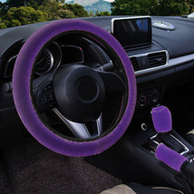 3Pcs Purple Winter Steering Wheel Cover Handbrake Car Automatic Cover/Wa... - $12.18