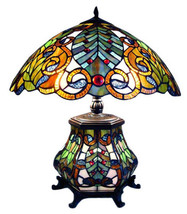 10928 Tiffany-Style Victorian Double Lit Table Lamp image 1