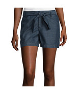 a.n.a Tape Belted Twill Shorts Size 10 New Msrp $36.00 Denim Rinse - $16.99