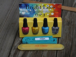 OPI ~ Lot of 4 BRIGHT LITES Nail Polish Lacquers & Top Coat + File Catty... - $14.99