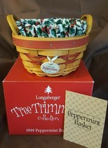 Longaberger 1999 Tree Trimming Red PEPPERMINT Basket Liner Protector Tie... - $29.95