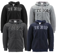 Men's Texas Embroidered Sherpa Lined Warm Zip Up Fleece Hoodie Sweater Jacket