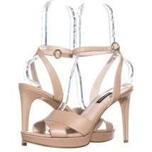 Nine West Quisha Criss Cross Ankle Strap Sandals 119, Light Gold, 10 US - $29.75
