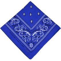 NEW MEN'S 12 PACK COTTON PAISLEY HEAD WRAP SCARF WRISTBAND BANDANA ROYAL BLUE