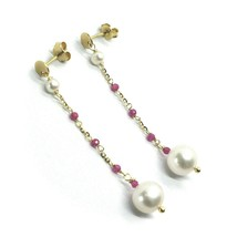 18K YELLOW GOLD PENDANT EARRINGS, FW WHITE PEARLS AND RED CUBIC ZIRCONIA image 1
