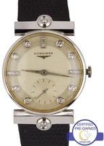 Vintage 1950s Longines 14K White Gold Diamond Silver 29mm Mechanical Watch - $899.95