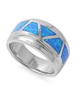 Opal Ring Sterling Silver October Blue Simulated Opal Ring - $75.99+