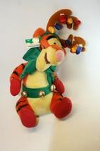 "Disney 18"" Tigger Plush Christmas With Reindeer Antlers & Jingle Bell Be... - $16.82"