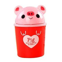 Set of 3 Red Pig Pattern Desktop Trash Mini Cartoon Plastic Storage Barrel