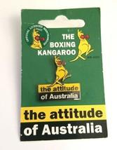 VTG Boxing Kangaroo The Attitude of Australia Silver Tone Enamel Souveni... - $11.14