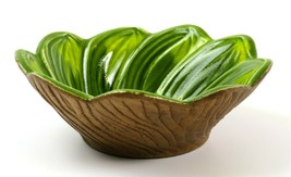Neat Vintage Green Leaf/Flower Textured Woodgrain USA Pottery Bowl G55B - $21.77