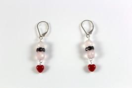Rose Quartz Faceted Gemstone Dangle Drop Earrings Red Swarovski Crystal, Glass,  - $15.99