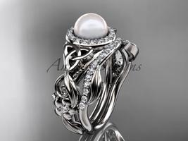 Platinum Pearl Halo Triquetra Celtic Diamond Wedding Ring Set CTP7300S - $3,300.00