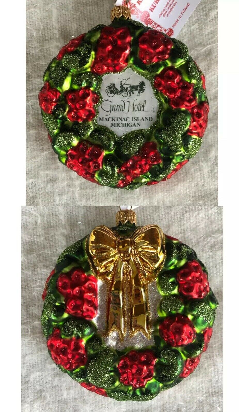 Primary image for Grand Hotel Glass Christmas Ornament Red Green Wreath Mackinac Island Michigan