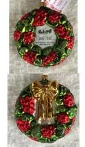 Grand Hotel Glass Christmas Ornament Red Green Wreath Mackinac Island Mi... - $107.80