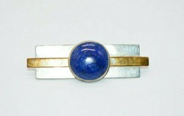 Modernist Sterling Silver Gold Filled Blue Lapis Lazuli Brooch Pin Vintage - $49.49