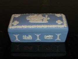 Vintage Wedgwood Jasperware White And Blue Rectangular Trinket Box - $24.00