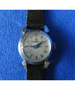 Omega Ladies Steel Round Hand Wound Wrist Watch with long black leather ... - $110.00