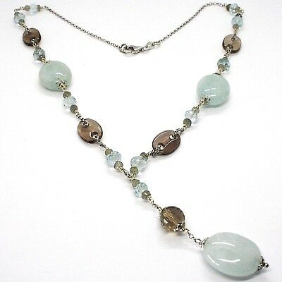 SILVER 925 NECKLACE, aquamarine oval, quartz smoke oval and round, PENDANT