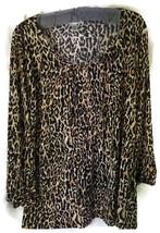 Dressbarn Woman Blouse Shirt Tunic Size Plus 1X Anima Print 3/4 Sleeves - $9.89