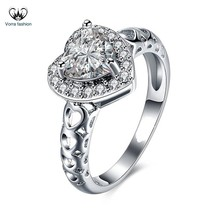 14k White Gold Plated 925 Silver Heart Shape Sim Diamond Wedding Engagem... - ₨5,020.11 INR