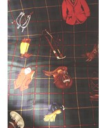 Alexander Henry Collection Craft Fabric Equestrian Plaid Riding Hunt Rare - $14.99