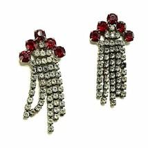 Red White Rhinestone Strand Drop Earrings Vintage Silver Tone Pierced e778 - $10.99