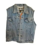 Harley Davidson Jeans Mens Denim Vest Primary SZ Large 98288-98VM New Wi... - $59.39