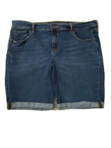 Old Navy Fitted Stretch Blue Jean Shorts Size 14 Bermuda Whiskering Cuff... - $18.70