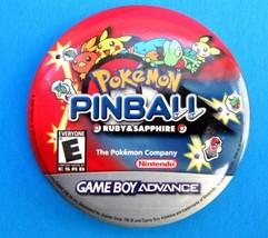 Pokemon Pinball Ruby & Sapphire Promo Button Pin Nintendo Game Boy Advan... - $3.99