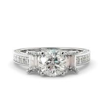 2.40 tcw Engagement Ring Round Moissanite Forever One & Diamond 14k White Gold - $3,738.00