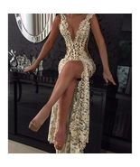 2017 Sexy Sheer Lace Prom Dresses Deep-V-Neck Front Slit Long Party Dress - $169.00