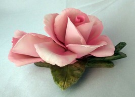 NAPOLEON Pink Roses Authentic Capodimonte (Italy) Floral Porcelain Figurine - $19.50