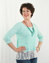 Mint Green Striped Top with Sheer Lace, Lace Back Button Down Blouse, USA Made - $26.99
