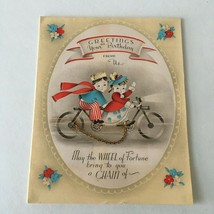VTG 1940s Happy Birthday CARD Kids on Bicycle w/chain Great Art Collectible BD2 - $9.65