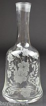 "Vintage Clear Glass Bell Shaped Decanter Frosted Floral Pattern 10.5"" Ta... - $19.99"