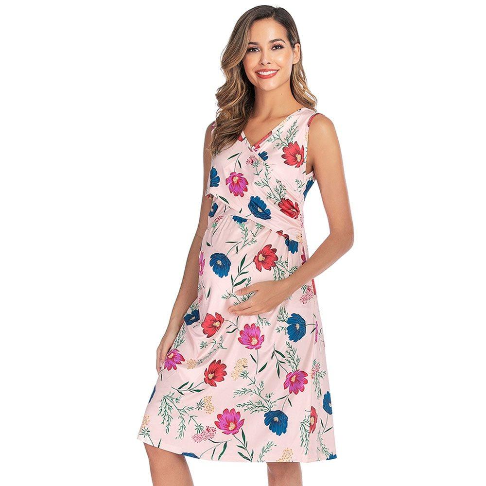 Maternity's Dress V Neck Floral Print Sleeveless Fashion Dress image 4