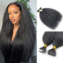 Kinky Straight Tape in Human Hair Extension Brazilian Remy Skin Weft Tape Hair C - $116.82
