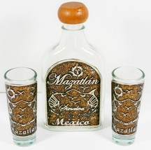 Mazatlan Sinaloa Mexico Liquor 5th Flask Bottle Two Shot Glass Set Souve... - $53.99