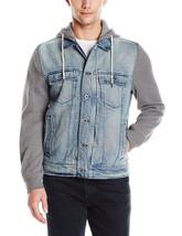 $148 Calvin Klein Jeans Men's Mixed Media Trucker Jacket, Mariner, Size S - $98.99