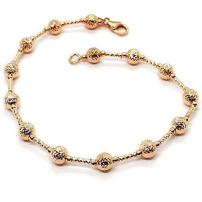 18K ROSE GOLD BRACELET FINELY WORKED 5 MM BALL SPHERE AND TUBE LINK 7.5 INCHES