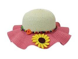 PANDA SUPERSTORE Beautiful Summer Straw Beach Sunflower Beige Red Girl Hat