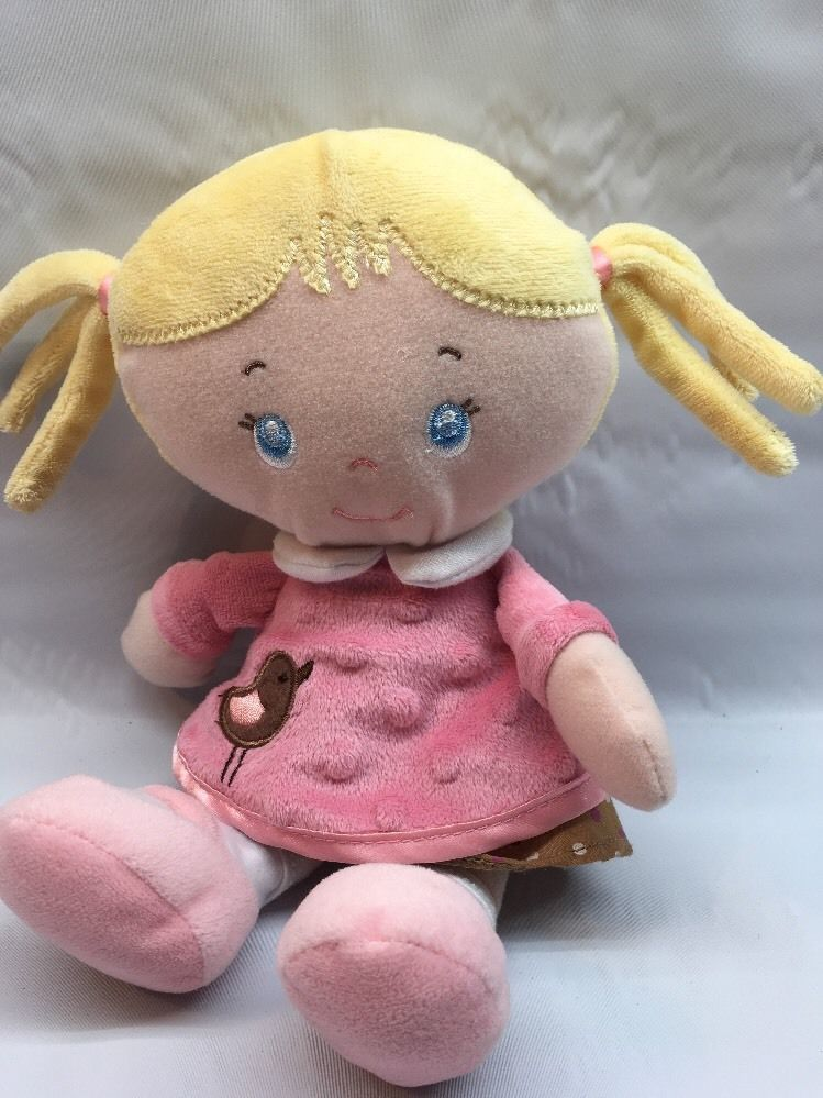 **Baby first Doll Plush Blonde Pigtails Pink Brown Bird Dress U3 image 1