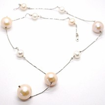 Necklace White Gold 18K, with Pendant, Pearls Large, White and Pink, 16 MM image 1