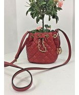Michael Kors Bag Small Frankie Quilted Drawstring Crossbody Red Leather B02 - $103.90